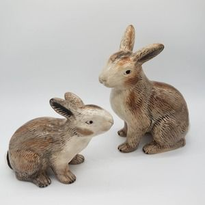 Williams Sonoma Brown Cottontail Rabbits Figurines